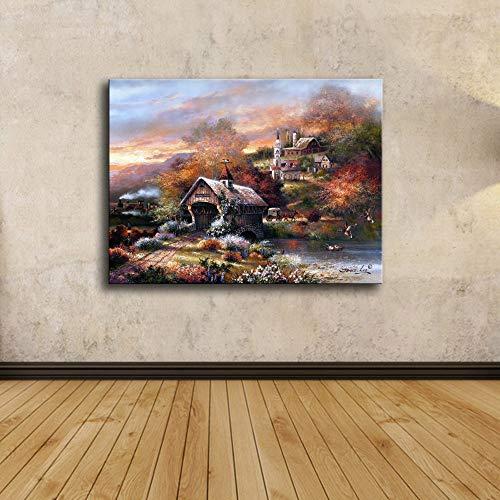 Canvas afbeelding, bosstad molen vierkant, poster en prints modulaire wandfoto, Home Decor eenvoudige kunst wandafbeelding foto afdrukken muur voor woonkamer, slaapkamer, hotel, eetzaal, café, etc. 70×100cm
