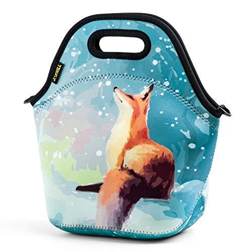 Hugool Isolierte Lunch Tasche, Neopren Lunch Bags für Frauen, Kinder, Mädchen, Jungen, Wasserdichtes, süßes Lunchpaket für die Schule und das Picknick (Fuchs)