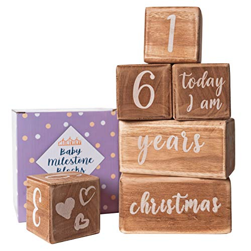 Baby Monthly Milestone Blocks - 6 Blocks Safe for Baby, The Most Complete Set for Pregnancy, Infant and Toddler Years, Baby Photography Props for Social Media, Rustic Baby Nursery Decor (Light Brown)