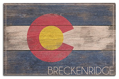 Lantern Press Breckenridge, Colorado - Rustic Colorado State Flag (10x15 Wood Wall Sign, Wall Decor Ready to Hang)