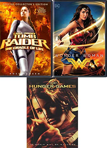 Game Maker heroes Movie 3 Pack DVD DC Wonder Woman Super Hero + Lara Croft Tomb Raider Cradle of Life + The Hunger Games triple pack