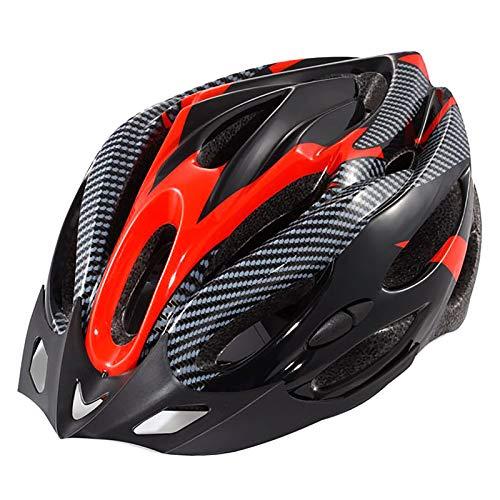 YATT Casco De Bicicleta, 21 Hoyos Cómodo Moldeado De Una Pieza Transpirable con Visera Tamaño Ajustable Casco De Bicicleta Rojo para Montar En Carretera Unisex