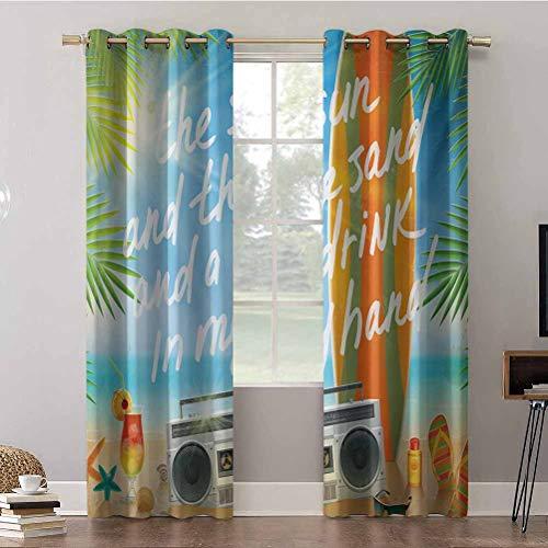 Cortinas opacas para dormitorio, 42 cm de ancho x 63 cm de largo con ojales aislados térmicos, diseño retro, playa tropical con hojas de palma, cortinas de oscurecimiento para habitación (2 paneles)