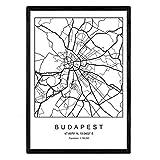 Druck Budapest Stadtplan nordischer Stil schwarz und weiß.