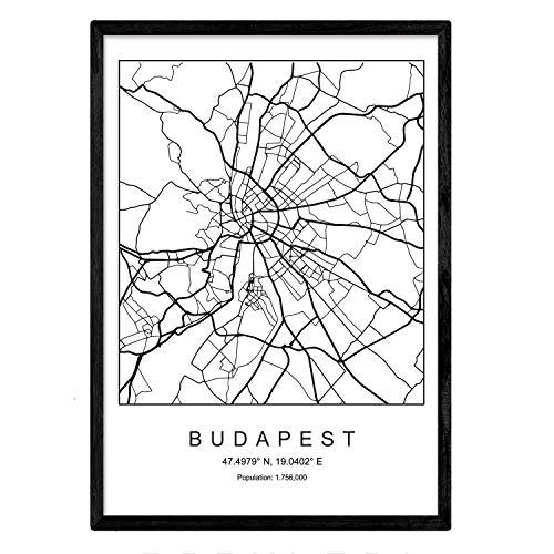 Nacnic Druck Budapest Stadtplan nordischer Stil schwarz und weiß. A3 Größe Plakat Das Bedruckte Papier Keine 250 gr. Gemälde, Drucke und Poster für Wohnzimmer und Schlafzimmer