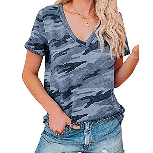 Camiseta De Manga Corta con Cuello En V Y Estampado De Leopardo con Estampado Casual De Verano para Mujer