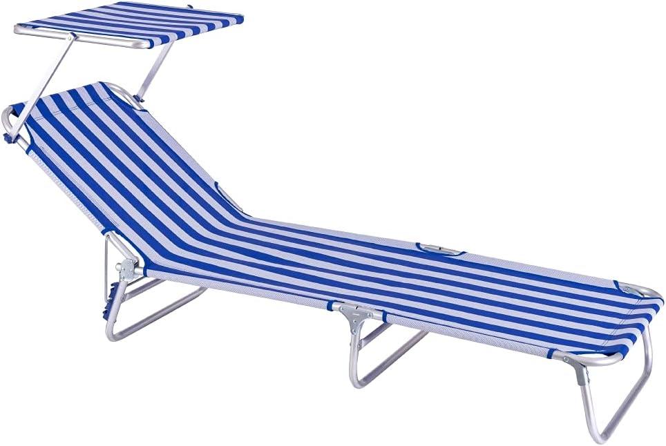 Tumbona Playa Cama con Parasol de 3 Posiciones de Aluminio y textileno de 190x58x25 cm (Azul y Blanco)