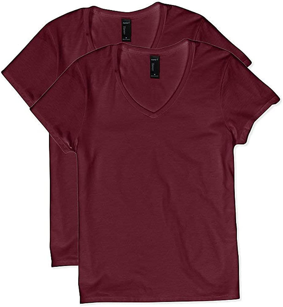 Hanes Women's X-temp Short Sleeve V-neck Tee – Available as 1-pack or 2-pack