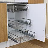 KuKoo 4 x Kitchen Pull Out Baskets, 500mm Wide Cabinet, Soft Close Wire Storage Metal Drawers