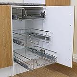 Kukoo - 3 Cestos Extraíbles para Mueble de Cocina de 50cm de Ancho con Guías Telescópicas de...