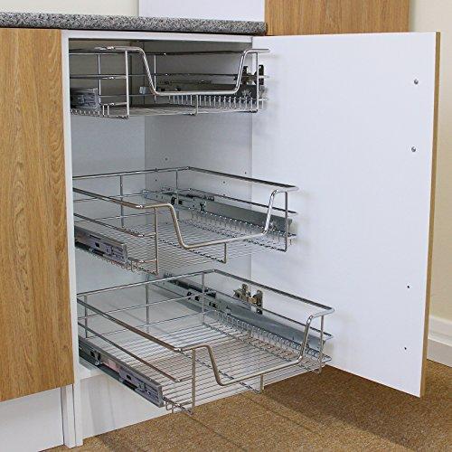 Kukoo - 3 Cestos Extraíbles para Mueble de Cocina de 50cm de Ancho con Guías Telescópicas de Cojinetes de Bolas 42,5cm x 39,7cm x 14cm