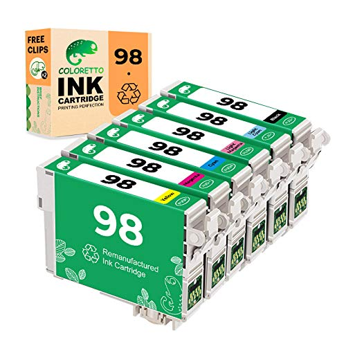 COLORETTO Remanufactured Ink Cartridge Replacement for Epson 98 T098 Used for Epson Artisan 730 810 835 710 Printer 6 Packs (1 Black 1 Cyan 1 Magenta 1 Yellow1 Light Cyan,1 Light Magenta) Combo Pack