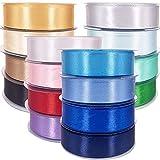 Cintas de colores Raso de Satén 350 Yardas Cinta para Lazos de Seda Ancho de 20 mm Pack 16 Rollos 16 Colores Brillantes. Cinta de Tela Doble Cara para Manualidad Decoración de Regalo 2 cm
