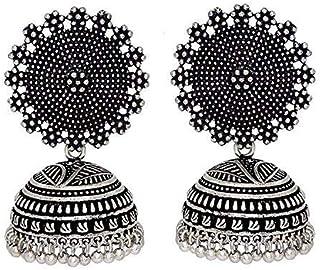 PCM Oxidised Silver Plated Handmade Jhumki Earrings for Women