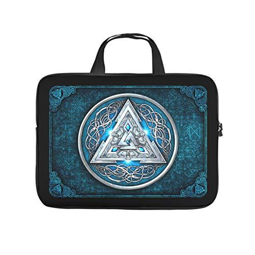 Neoprene Viking Rune Valknut Blue Laptop Case Sleeve Bag Briefcases - for Work/Business/School/College/Travel White 15 Zoll