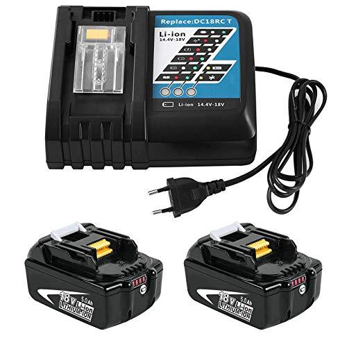 2 piezas 18 V 5,0 Ah BL1850B Batería con cargador de 3A DC18RC Reemplazo par Makita BL1860B BL1860 BL1850 BL1845 BL1840B BL1840 BL1835 BL1830B BL1830