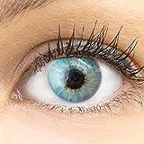 GLAMLENS Sevilla Blue blau + Behälter | Sehr stark deckende natürliche blaue Kontaktlinsen farbig...