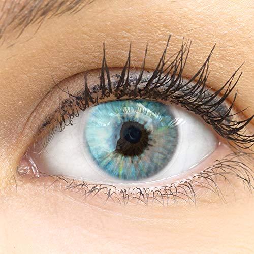 GLAMLENS Sevilla Blue blau + Behälter | Sehr stark deckende natürliche blaue Kontaktlinsen farbig | farbige Monatslinsen aus Silikon Hydrogel | 1 Paar (2 Stück) | DIA 14.50 | Ohne Stärke