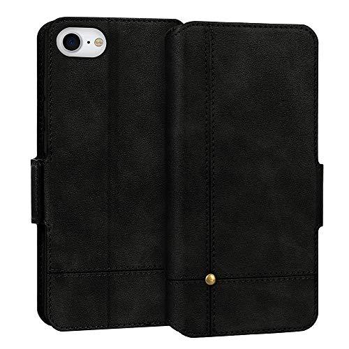 FYY Cover iPhone SE 2020 4.7'',Custodia iPhone SE 2020,Cover iPhone 8/7 4.7'',Flip Custodia da Portafoglio in Pelle PU Ultra Sottile Cover Protettiva con Slot per Schede per iPhone SE 2020/7/8-Nero
