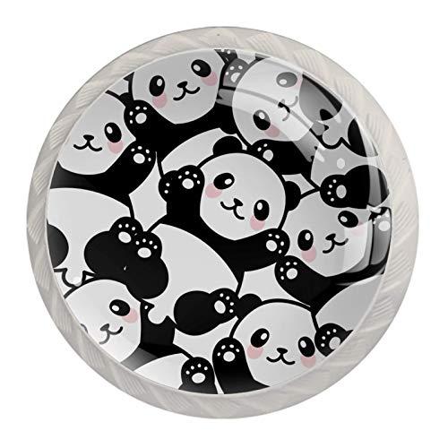 Manija del cajón Lindo bebé panda Tirador para muebles cristal Perilla de cajón Redondo Pomo para muebles 4 piezas Para cocina salón baño dormitorio 3.5×2.8CM