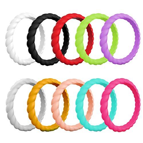 Holibanna 10Pcs Anillos de Silicona en Forma de Giro de Colores Surtidos Anillos Deportivos Transpirables Anillo de Bodas de Silicona Regalo de La Joyería del Dedo para El Compromiso de
