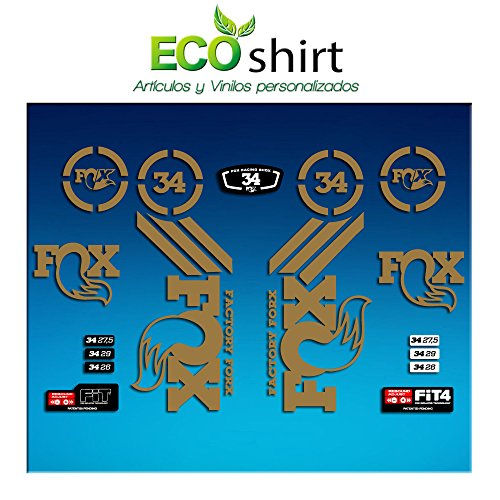 Ecoshirt CE-NLH9-YSKN Sticker Fork Fox 34 Am64 Sticker Decals Sticker Vork Goud