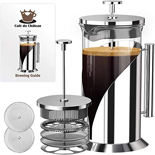 Cafe Du Chateau French Press Coffee Maker - Large 34 Oz Glass Carafe - Stainless Steel Coffee Presses with 4 Level Filter