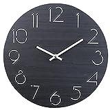 TXXCI 12 Zoll/30CM Hölzern Wanduhr Küchenuhr im Nicht-tickende für die Küche Home Office Wohnzimmer und Schlafzimmer-Schwarz