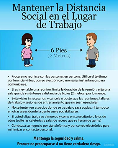 Social Distancing Coronavirus, COVID-19 Disease Preventions, (Spanish) Precautions and Awareness Poster for Public Safety, 11'X 14', Made in The USA