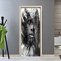 3Dドアステッカー壁画 肖像画ドアステッカー壁画デカールPvc壁紙自己粘着画像家の装飾