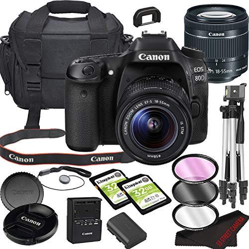 Canon EOS 80D DSLR Camera Bundle with 18-55mm STM Lens   Built-in Wi-Fi 24.2 MP CMOS Sensor    DIGIC 6 Image Processor and Full HD Videos + 64GB Memory(17pcs)