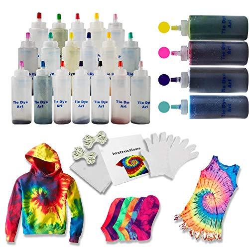 Kids Tie Dye Kit, 123PCS 18 Vibrant Colours Tie Dye DIY Set Fabric Textile Paints School Party Art Craft Supplies for Kid Teen Boys Girls