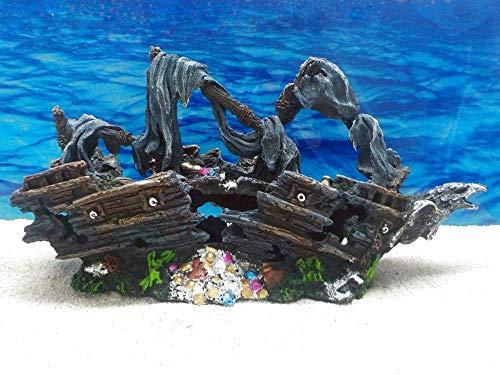 Orbit Schiffswrack 40cm Aquarium Deko Versteck Steine Felsen Garnelen Schiff Fische Wrack Dekofigur Dekosteine