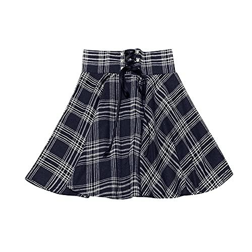 Las mujeres del vendaje de la tela escocesa de la cintura alta grande del oscilación de la falda de las