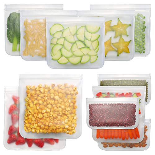 Bayco Reusable Storage Bags (12 Pack) 2 Gallon & 5 Sandwich Lunch Bags & 5 Small Kids Snack Bags For Food, EXTRA THICK Reusable Food Bags, Reusable Freezer Bags, Reusable Zipper Bags, BPA FREE