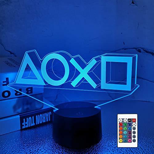 Luce notturna 3D Illusion, lampade da tavolo a LED da tavolo, illuminazione di ricarica USB a 16 colori Decorazione camera da letto per bambini Regalo di compleanno di Halloween di Natale