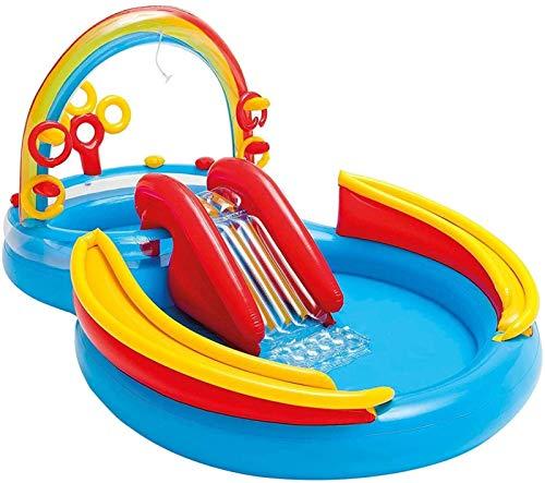 LHY Tobogán acuático de dinosaurio de juguete, piscina inflable, piscina infantil, piscina familiar, piscina de bola de océano, juguete de rociador de piscina, estera inflable resistente a la humedad