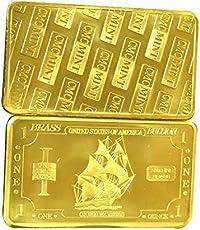 Metal Art Collection - 1 oz One Troy Ounce USA Iron Ship .999 Fine Brass Bullion Bar Ingot