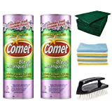 Comet Cleanser Kitchen and Bathroom Kit (Includes Two 21 Oz Canisters Comet Lavender Fresh Powder with Bleach, Microfiber Towel Cloths, Scouring Pads & Scrub Brush) Complete Household Cleaning Set