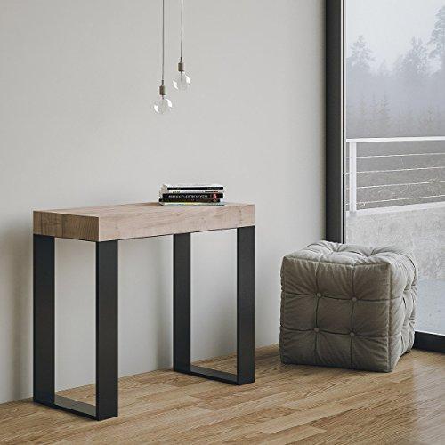 Tecno - Mesa/consola extensible fabricada en Italia, color roble natural y estructura gris antracita, 14comensales, 3metros