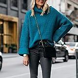 QSDM Suéteres de Las Mujeres Jerséis de Mujer Otoño/Invierno suéter Suelto de Cuello Alto para Mujer-Azul eléctrico_Metro