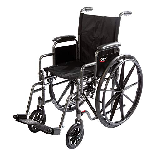 "Carex Wheelchair with Large 18"" Padded Seat - Wheel Chair with Adjustable and Removable Swing-Away Footrests - Folding Chair for Compact Storage, 250lb Capacity, Black"