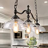 Log Barn Light Fixture Farmhouse Chandelier, Dining Room Hanging in Rustic Black Metal with Clear Glass Shades, Adjustable Chains, Pendant for Kitchen Island