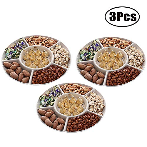 Set of 3 Snack Serving Tray 6-Section Plastic Candy Dish Salad Desserts Fruits Holder for Wedding Home Party (Beige)