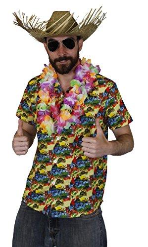 Juego de disfraz de Hawaian para hombre – Camisa HAWAIIAN HULA AMARILLO + flor multicolor LEI + sombrero de playa Luau fiesta playa verano (pequeño)