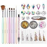 Nail Art Brushes Set, Beetles Gel Nail Polish Nail Accessories with Nail Pen, Crystal Rhin...