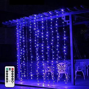 Luz de cortina LED con pilas Iluminación interior de color azul, 3m × 3m, 300 luces LED para ventanas de hielo