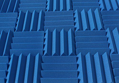 Wedge Style Acoustic Foam Panels 2 Pack - 12in x 12in x 3 Inch Thick Tiles - Soundproofing Acoustic Studio Foam - Blue Color