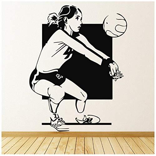 Hanzeze Muurstickers Volleybal match Zelfklevende PVC sticker muurschildering art deco voor woonkamer ramen kinderkamer huisdecoratie 57x73cm