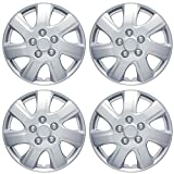 BDK Performance Wheel Covers (4 Pack) of Premium 16' inch Hubcap OEM Replacements for Toyota Camry Steel Wheels, High Grade ABS with Retention Ring, Silver